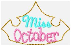 Miss Months October Embroidery File