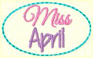 Miss April Clip Cover Embroidery File