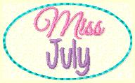 Miss July Clip Cover Embroidery File
