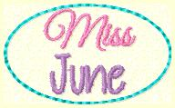 Miss June Clip Cover Embroidery File