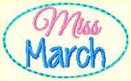 Miss March Clip Cover Embroidery File