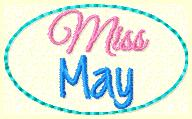 Miss May Clip Cover Embroidery File