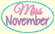Miss November Clip Cover Embroidery File