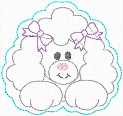 Paris the Poodle Feltie Keeper Embroidery File