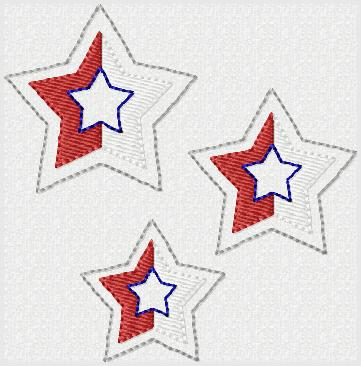 Patriotic Star Embroidery File