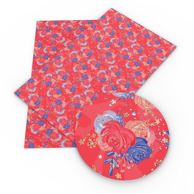 6x25 Patriotic Floral Red Printed Vinyl