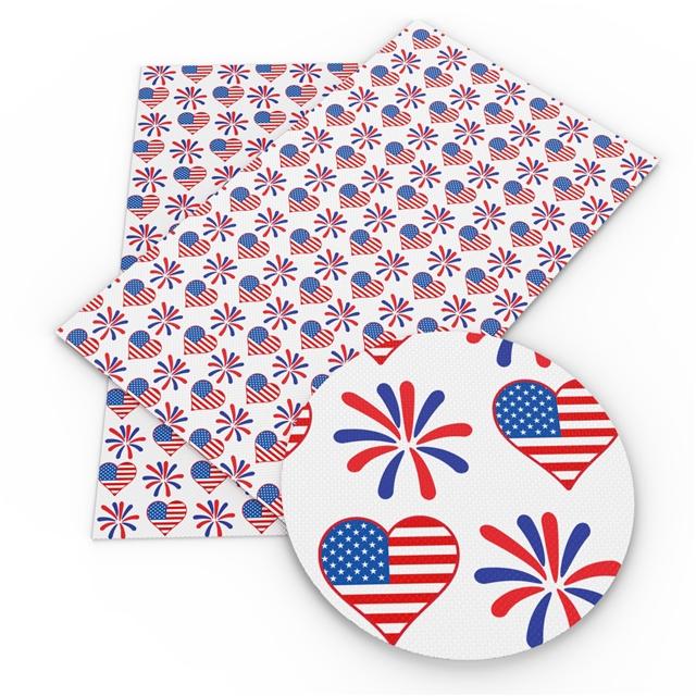 6x25 Patriotic Hearts and Fireworks Printed Vinyl