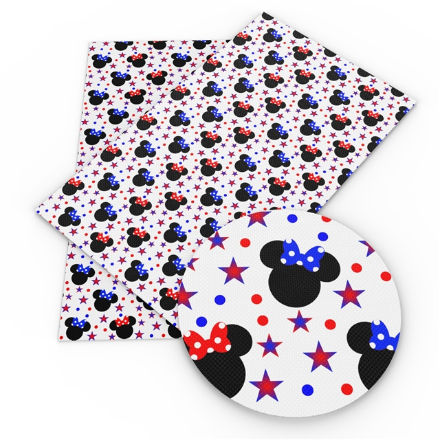 6x25 Patriotic Glitter Mrs Mouse Printed Vinyl