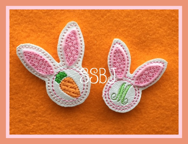 SSBJ Personalized Bunny Head Embroidery File
