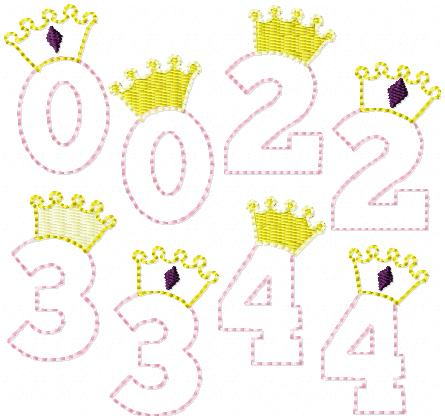 Princess Numbers with Crowns SET Embroidery File