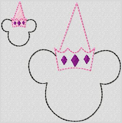 Princess Minnie Embroidery File SET