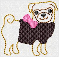 Pug Body Embroidery File