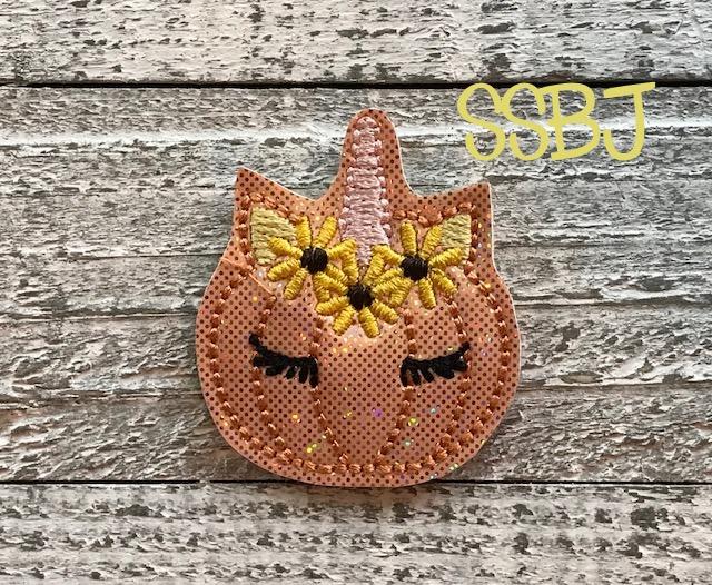 SSBJ Pumpkin Unicorn sunflowers Embroidery File