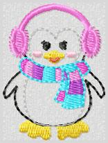 LBS New Years Ribbon Penguin Embroidery File