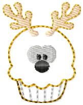 Reindeer Cupcake Embroidery File