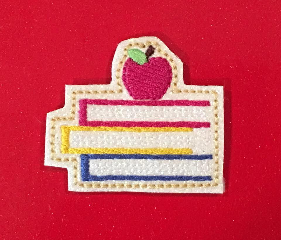 SSBJ Stacked Books Apple Embroidery File