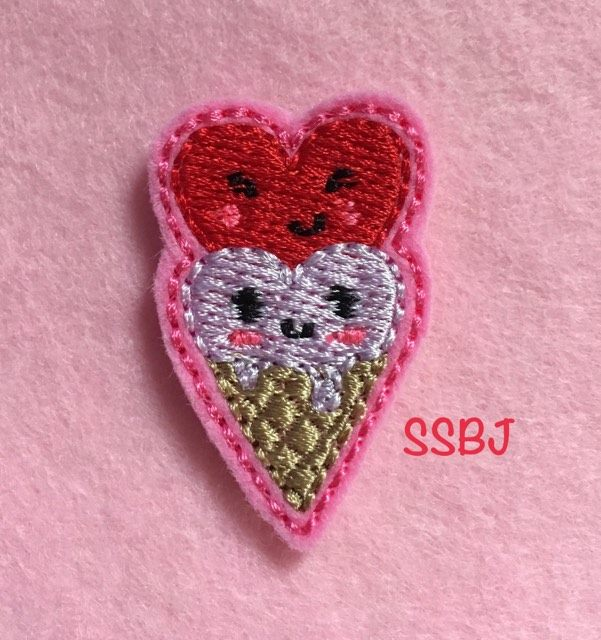 SSBJ 2 Heart Ice Cream Cone Embroidery File