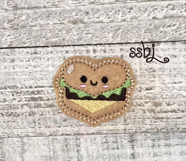 SSBJ Heart Hamburger Love Embroidery File