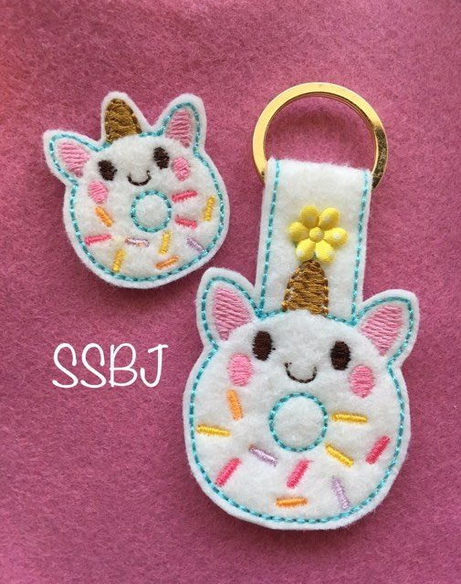 SSBJ Unicorn Donut Feltie And Key Chain Embroidery File