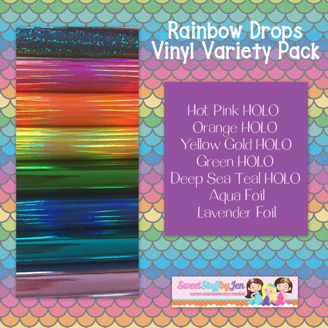 Rainbow Drops Embroidery Vinyl Variety Pack