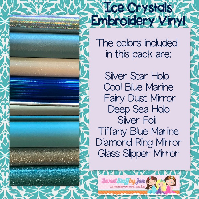 Ice Crystals Embroidery Vinyl Variety Pack