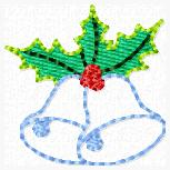Silver Bells Holly Embroidery File