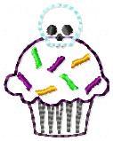 Skull Cupcake Applique Embroidery File