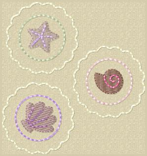 Scalloped Shells Embroidery File SET