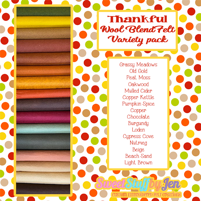 Thankful Wool Blend Felt Variety Pack