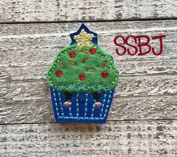 SSBJ Christmas Tree Cupcake Applique' Embroidery File