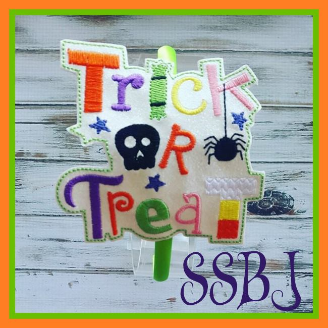 Trick or Treat Glam Band Slider  Embroidery File