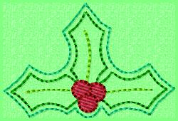 Triple Holly Leaf Embroidery File