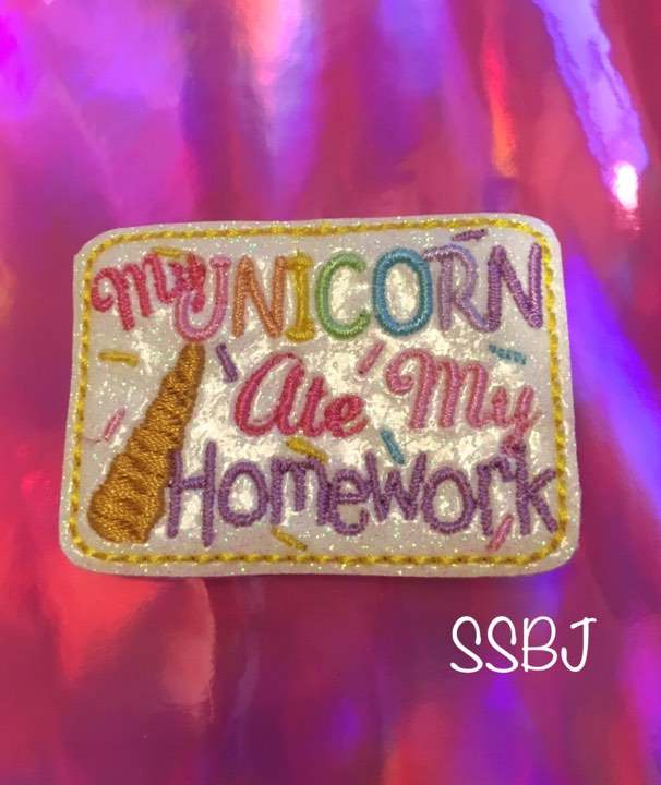 SSBJ My Unicorn Ate my Homework Embroidery File
