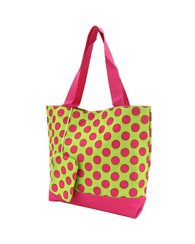 Shopping Tote-Lime & Pink