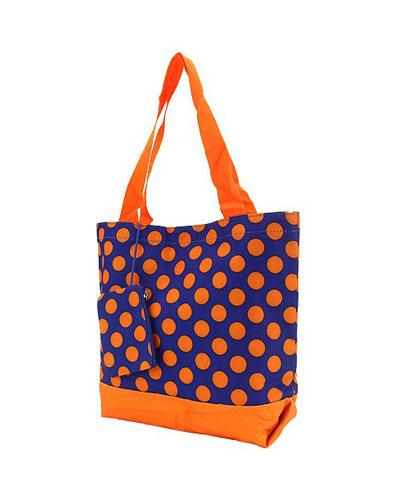 Shopping Tote-Navy & Orange