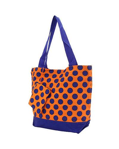 Shopping Tote-orange & Navy