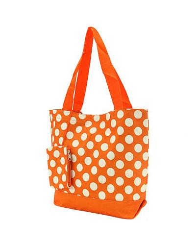 Shopping Tote-Orange & White