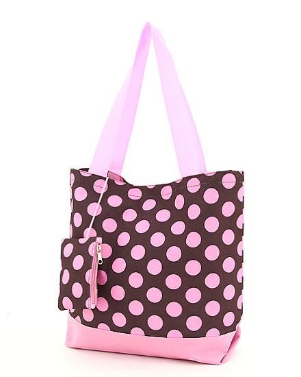 Shopping Tote-Brown & Pink